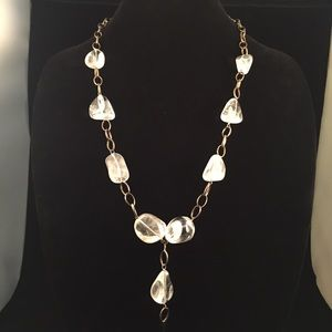 Quartz Nugget on Silvertone Rings Necklace